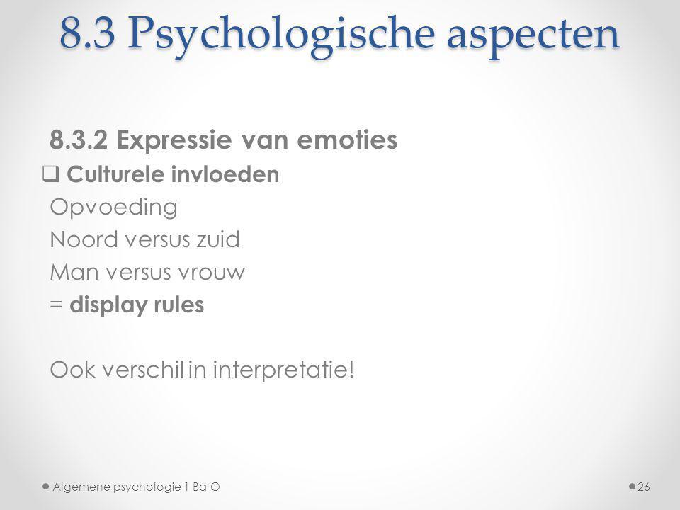 8.3 Psychologische aspecten 8.3.2 Expressie van emoties  Culturele invloeden Opvoeding Noord versus zuid Man versus vrouw = display rules Ook verschi