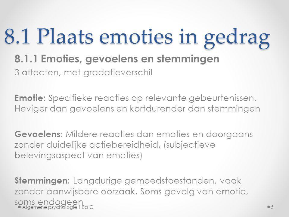 8.1 Plaats emoties in gedrag 8.1.1 Emoties, gevoelens en stemmingen 3 affecten, met gradatieverschil Emotie : Specifieke reacties op relevante gebeurt