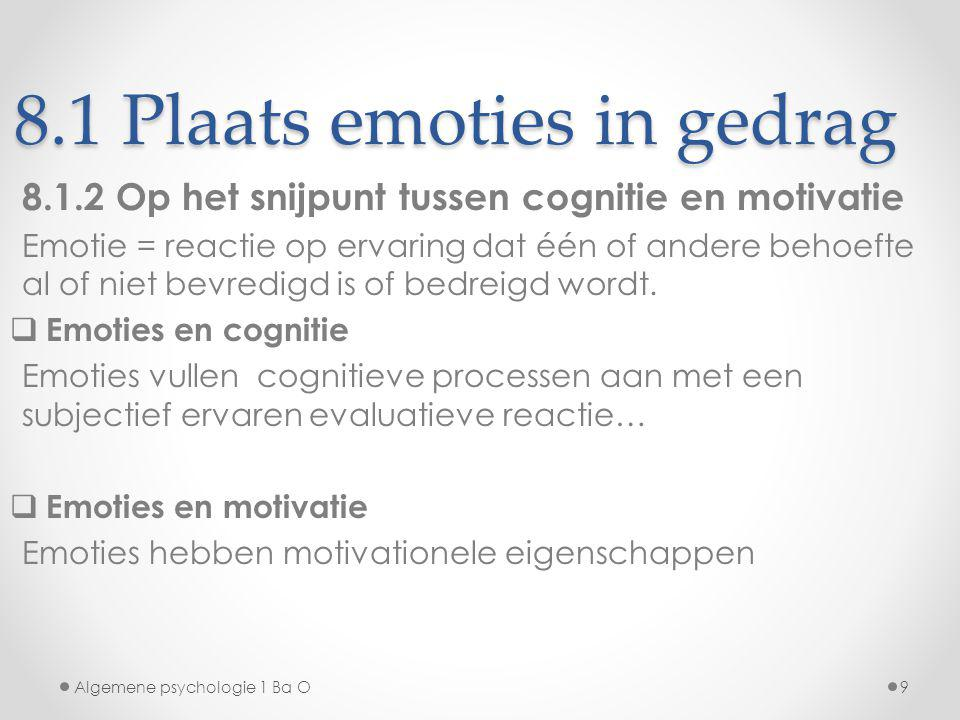 8.1 Plaats emoties in gedrag 8.1.2 Op het snijpunt tussen cognitie en motivatie Emotie = reactie op ervaring dat één of andere behoefte al of niet bev