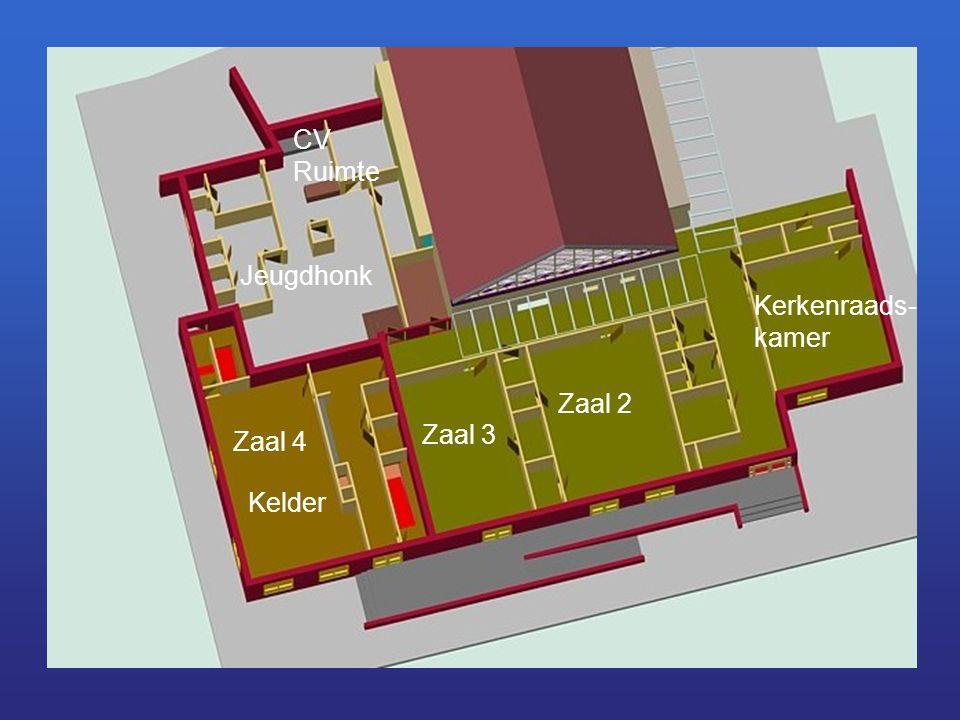 Zaal 3 Zaal 2 Kerkenraads- kamer Zaal 4 Kelder Jeugdhonk CV Ruimte