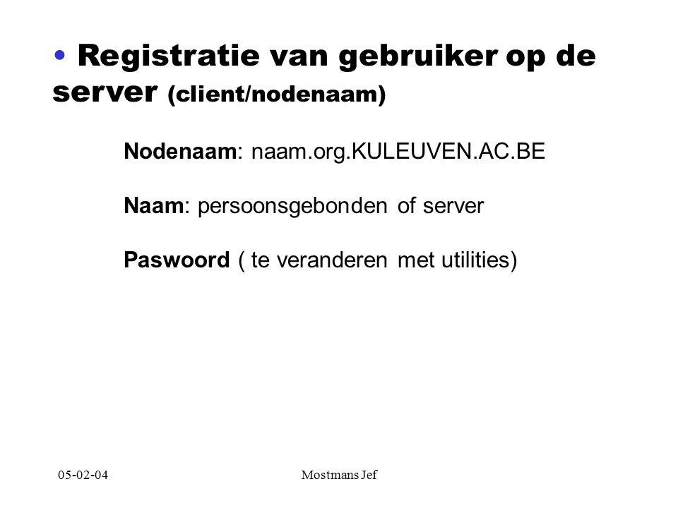 05-02-04Mostmans Jef Registratie van gebruiker op de server (client/nodenaam) Nodenaam: naam.org.KULEUVEN.AC.BE Naam: persoonsgebonden of server Paswoord ( te veranderen met utilities)