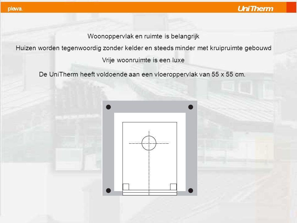 Woonoppervlak en ruimte is belangrijk Huizen worden tegenwoordig zonder kelder en steeds minder met kruipruimte gebouwd Vrije woonruimte is een luxe De UniTherm heeft voldoende aan een vloeroppervlak van 55 x 55 cm.