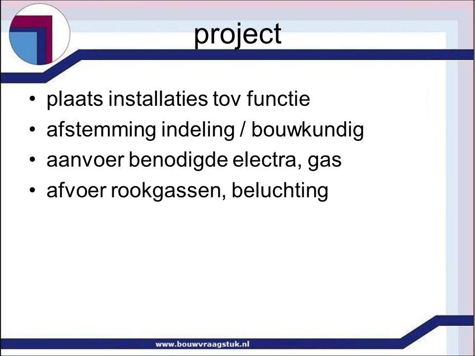 project plaats installaties tov functie afstemming indeling / bouwkundig aanvoer benodigde electra, gas afvoer rookgassen, beluchting
