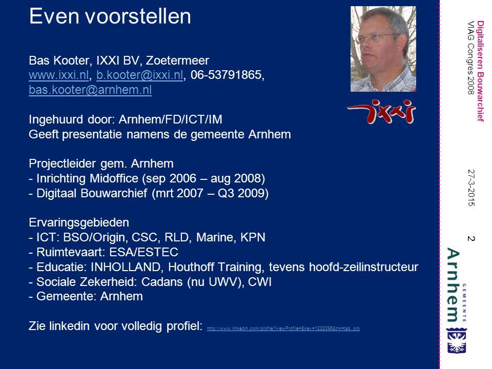 Digitaliseren Bouwarchief 3 27-3-2015 VIAG Congres 2008 Agenda-onderdelen 1.Introductie 2.Situatieschets (waarom, problematiek) 3.Het bouwarchief (tijdsbeeld) Papieren dossiers Registers (papier en digitaal) 4.Het totale proces (partijen, activiteiten) Archief: Herstructurering en registratie Scanfabriek: Groeperen, Scannen, Inpakken ICT: Logistiek, Bewerking, Opslag, Ontsluiting 5.De projectplanning (fasen, mijlpalen) Analyse: volumeberekeningen, planvorming 1 meter pilot: aantonen dat het kan Uitbouw digitale infrastructuur Inrichting Scanfabriek Scannen Ontsluiten