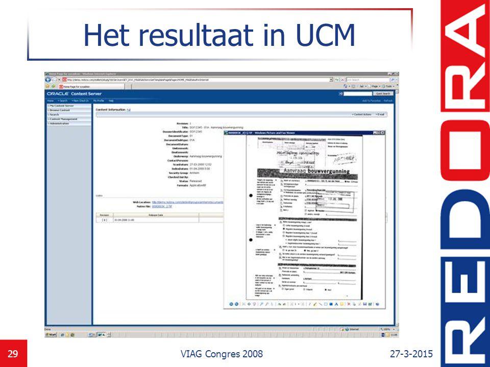 27-3-2015VIAG Congres 200830 Het resultaat in web applicatie Gecombineerd met data uit meerdere backoffice applicaties