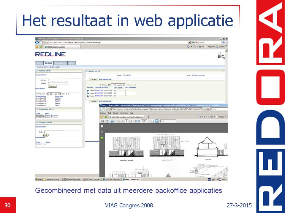 27-3-2015VIAG Congres 200830 Het resultaat in web applicatie Gecombineerd met data uit meerdere backoffice applicaties