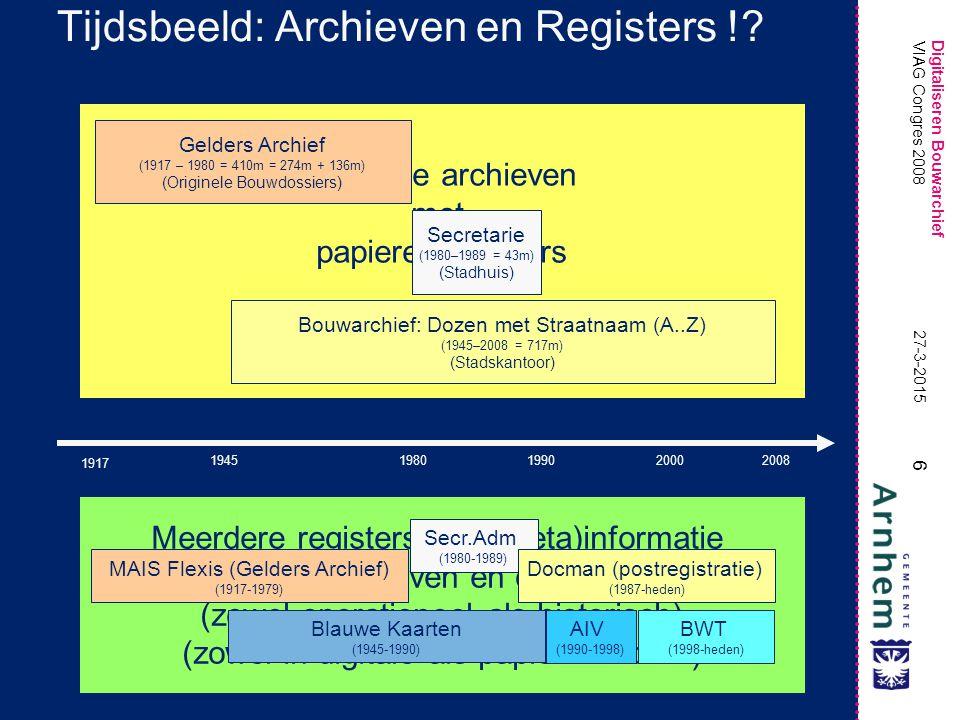 Digitaliseren Bouwarchief 6 27-3-2015 VIAG Congres 2008 Meerdere archieven met papieren dossiers (deels overlappend) Meerdere registers met (meta)info