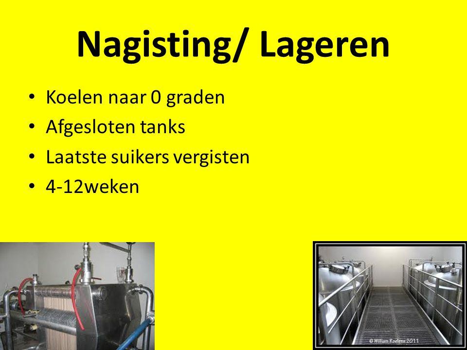 Nagisting/ Lageren Koelen naar 0 graden Afgesloten tanks Laatste suikers vergisten 4-12weken