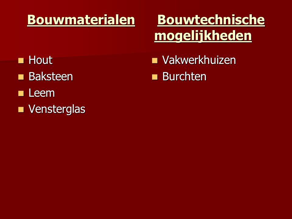 Bouwmaterialen Bouwtechnische mogelijkheden Hout Hout Baksteen Baksteen Leem Leem Vensterglas Vensterglas Vakwerkhuizen Vakwerkhuizen Burchten Burchte