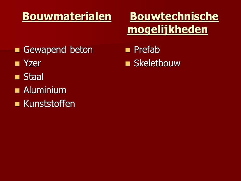 Bouwmaterialen Bouwtechnische mogelijkheden Gewapend beton Gewapend beton Yzer Yzer Staal Staal Aluminium Aluminium Kunststoffen Kunststoffen Prefab P