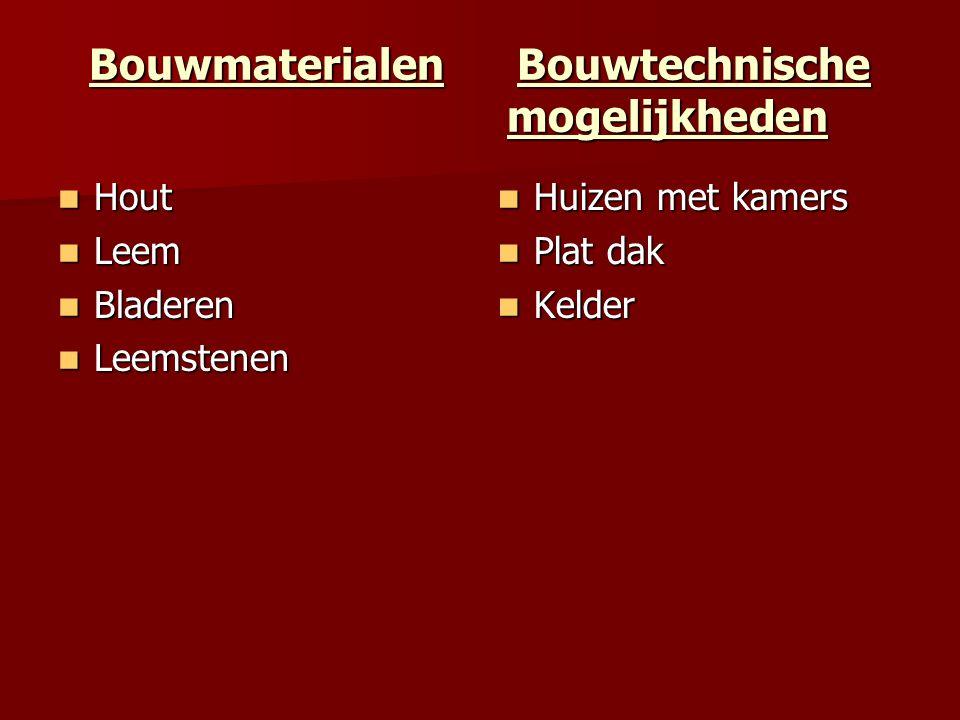 Bouwmaterialen Bouwtechnische mogelijkheden Hout Hout Leem Leem Bladeren Bladeren Leemstenen Leemstenen Huizen met kamers Huizen met kamers Plat dak P