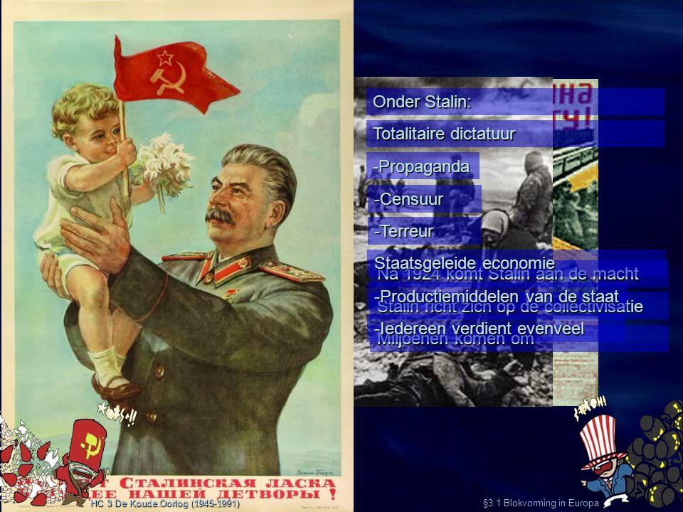 §3.1 Blokvorming in Europa Na 1924 komt Stalin aan de macht Stalin richt zich op de collectivisatie Miljoenen komen om HC 3 De Koude Oorlog (1945-1991