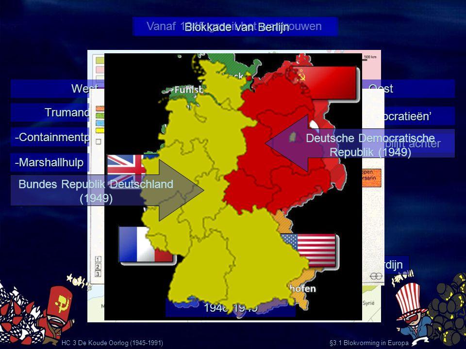 HC 3 De Koude Oorlog (1945-1991) §3.1 Blokvorming in Europa Vanaf 1945 groeit het wantrouwen OostWest 'Volksdemocratieën' Rode Leger blijft achter Tru