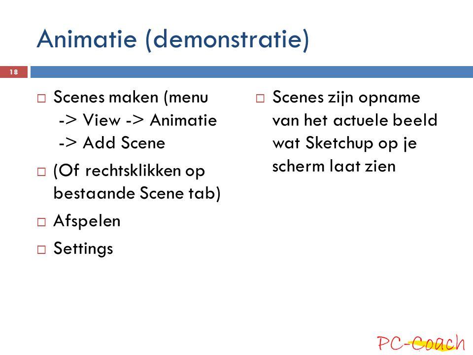 Animatie (demonstratie)  Scenes maken (menu -> View -> Animatie -> Add Scene  (Of rechtsklikken op bestaande Scene tab)  Afspelen  Settings  Scenes zijn opname van het actuele beeld wat Sketchup op je scherm laat zien 18