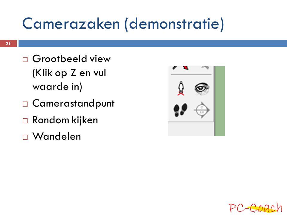Camerazaken (demonstratie)  Grootbeeld view (Klik op Z en vul waarde in)  Camerastandpunt  Rondom kijken  Wandelen 21