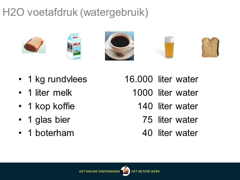 1 kg rundvlees 1 liter melk 1 kop koffie 1 glas bier 1 boterham 16.000 liter water 1000 liter water 140 liter water 75 liter water 40 liter water H2O voetafdruk (watergebruik)