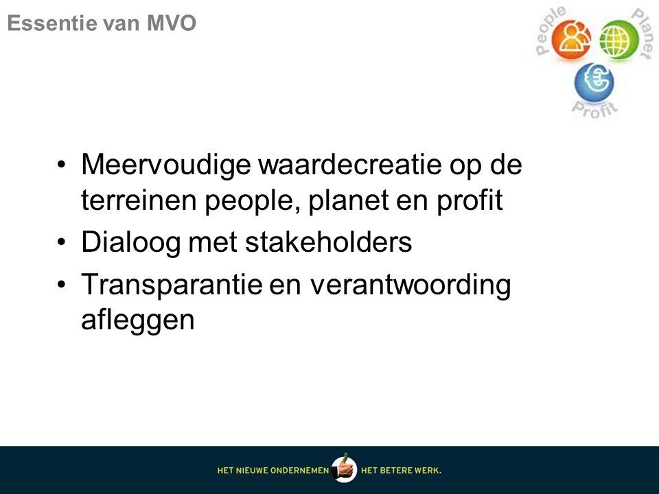 Essentie van MVO Meervoudige waardecreatie op de terreinen people, planet en profit Dialoog met stakeholders Transparantie en verantwoording afleggen
