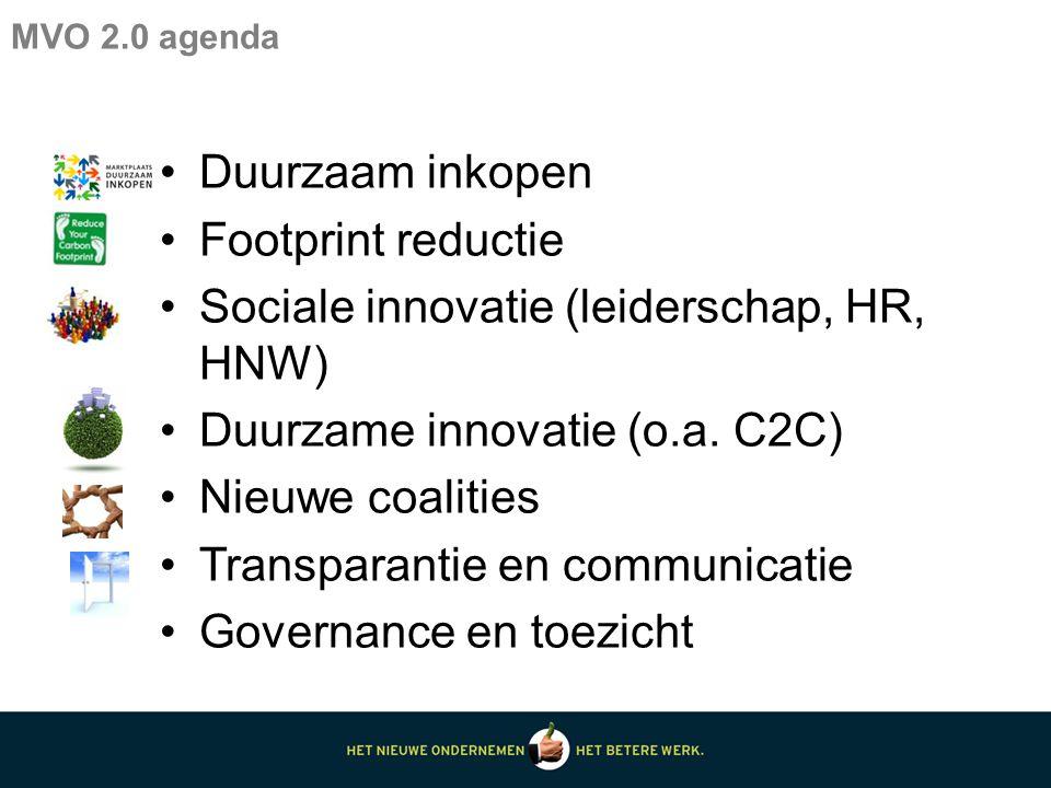 Duurzaam inkopen Footprint reductie Sociale innovatie (leiderschap, HR, HNW) Duurzame innovatie (o.a.