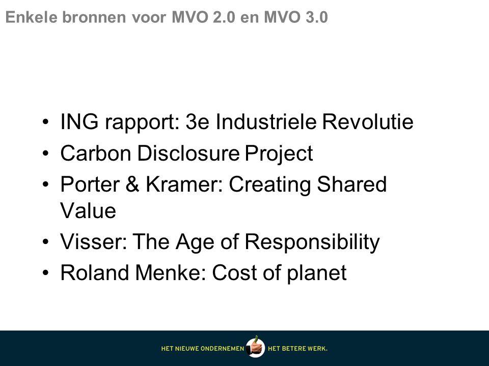 Enkele bronnen voor MVO 2.0 en MVO 3.0 ING rapport: 3e Industriele Revolutie Carbon Disclosure Project Porter & Kramer: Creating Shared Value Visser: The Age of Responsibility Roland Menke: Cost of planet