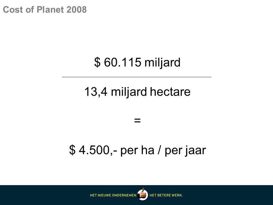 Cost of Planet 2008 $ 60.115 miljard 13,4 miljard hectare = $ 4.500,- per ha / per jaar