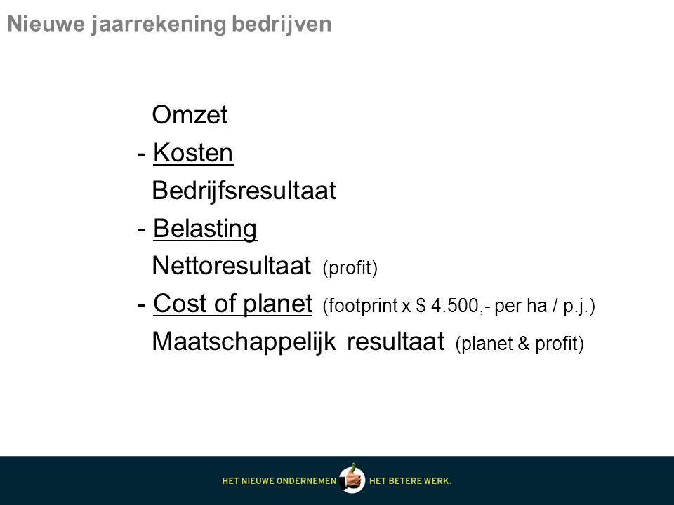 Nieuwe jaarrekening bedrijven Omzet - Kosten Bedrijfsresultaat - Belasting Nettoresultaat (profit) - Cost of planet (footprint x $ 4.500,- per ha / p.j.) Maatschappelijk resultaat (planet & profit)