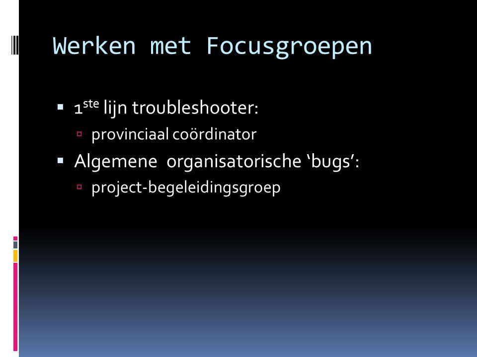 Werken met Focusgroepen  1 ste lijn troubleshooter:  provinciaal coördinator  Algemene organisatorische 'bugs':  project-begeleidingsgroep