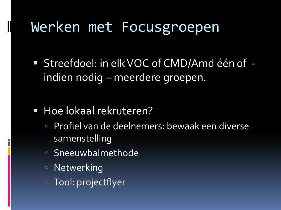 Werken met Focusgroepen  Streefdoel: in elk VOC of CMD/Amd één of - indien nodig – meerdere groepen.