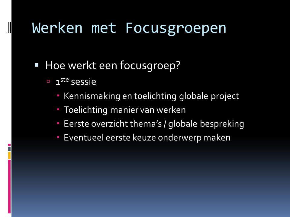 Werken met Focusgroepen  Hoe werkt een focusgroep.