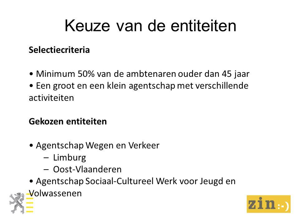 Keuze van de entiteiten Selectiecriteria Minimum 50% van de ambtenaren ouder dan 45 jaar Een groot en een klein agentschap met verschillende activiteiten Gekozen entiteiten Agentschap Wegen en Verkeer – Limburg – Oost-Vlaanderen Agentschap Sociaal-Cultureel Werk voor Jeugd en Volwassenen