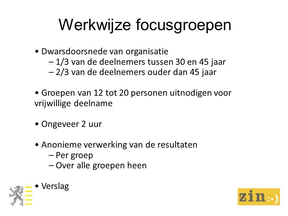 Werkwijze focusgroepen Dwarsdoorsnede van organisatie – 1/3 van de deelnemers tussen 30 en 45 jaar – 2/3 van de deelnemers ouder dan 45 jaar Groepen v
