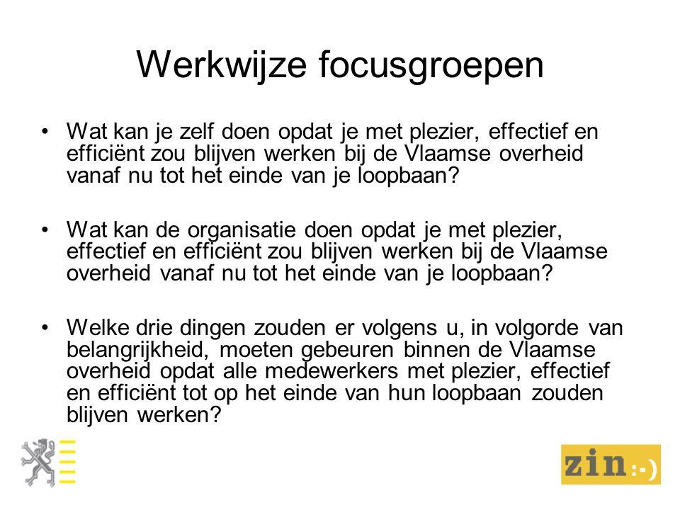 Werkwijze focusgroepen Wat kan je zelf doen opdat je met plezier, effectief en efficiënt zou blijven werken bij de Vlaamse overheid vanaf nu tot het einde van je loopbaan.