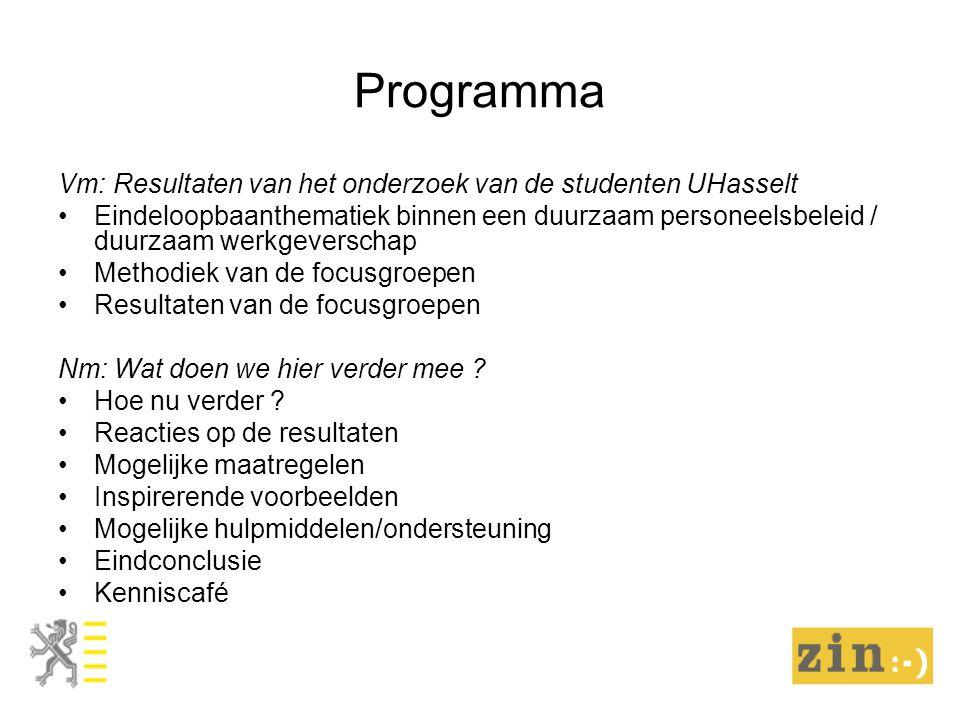 Programma Vm: Resultaten van het onderzoek van de studenten UHasselt Eindeloopbaanthematiek binnen een duurzaam personeelsbeleid / duurzaam werkgeverschap Methodiek van de focusgroepen Resultaten van de focusgroepen Nm: Wat doen we hier verder mee .