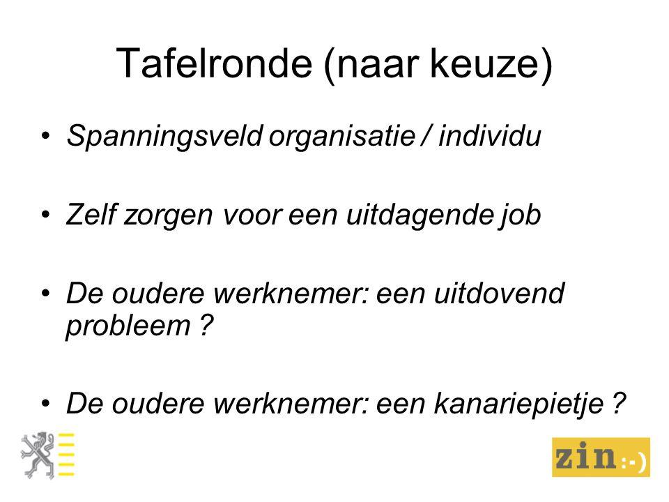 Tafelronde (naar keuze) Spanningsveld organisatie / individu Zelf zorgen voor een uitdagende job De oudere werknemer: een uitdovend probleem .