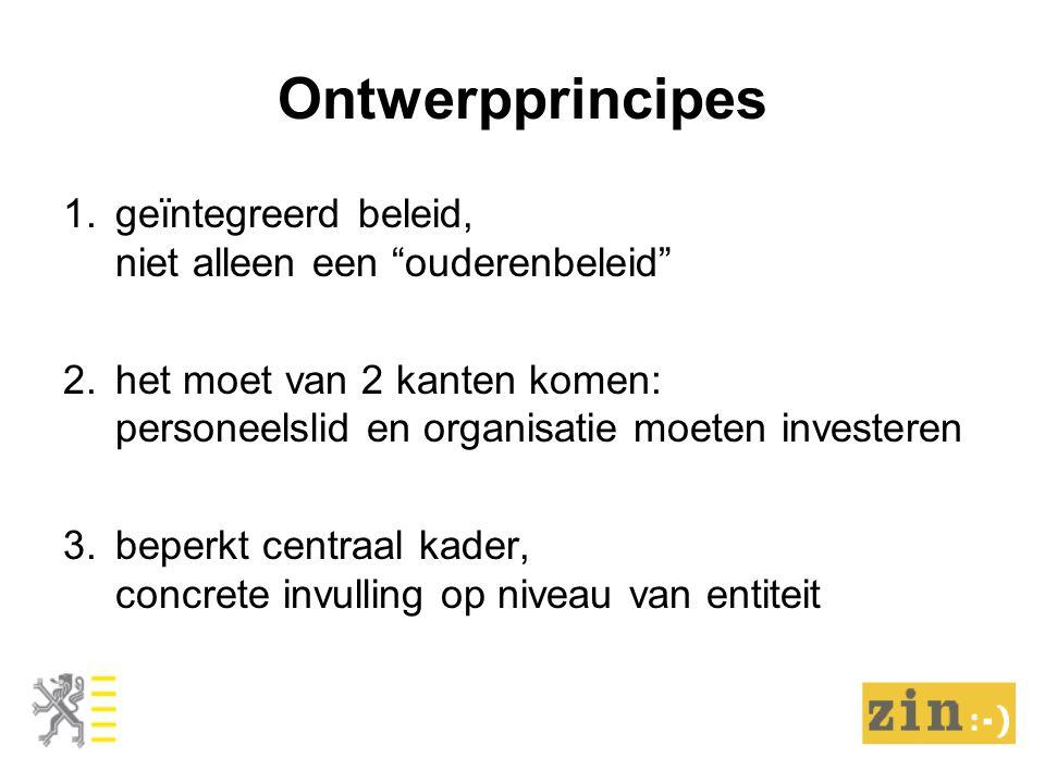 Ontwerpprincipes 1.geïntegreerd beleid, niet alleen een ouderenbeleid 2.het moet van 2 kanten komen: personeelslid en organisatie moeten investeren 3.beperkt centraal kader, concrete invulling op niveau van entiteit
