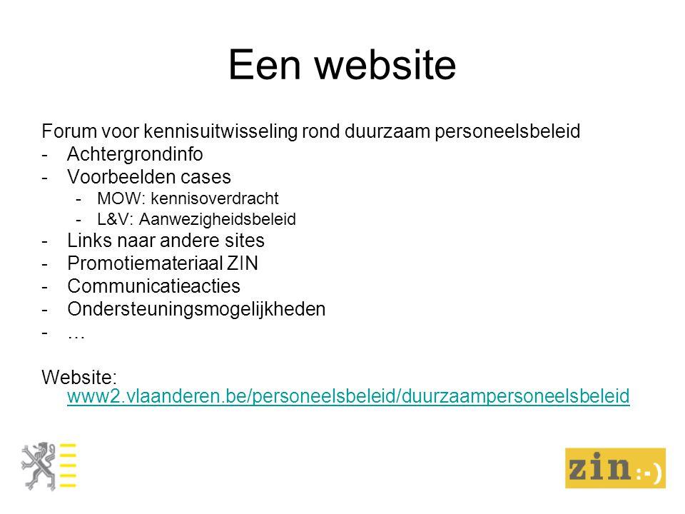 Een website Forum voor kennisuitwisseling rond duurzaam personeelsbeleid -Achtergrondinfo -Voorbeelden cases -MOW: kennisoverdracht -L&V: Aanwezigheid
