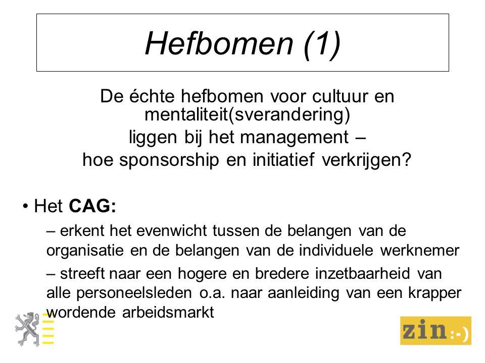 Hefbomen (1) De échte hefbomen voor cultuur en mentaliteit(sverandering) liggen bij het management – hoe sponsorship en initiatief verkrijgen? Het CAG