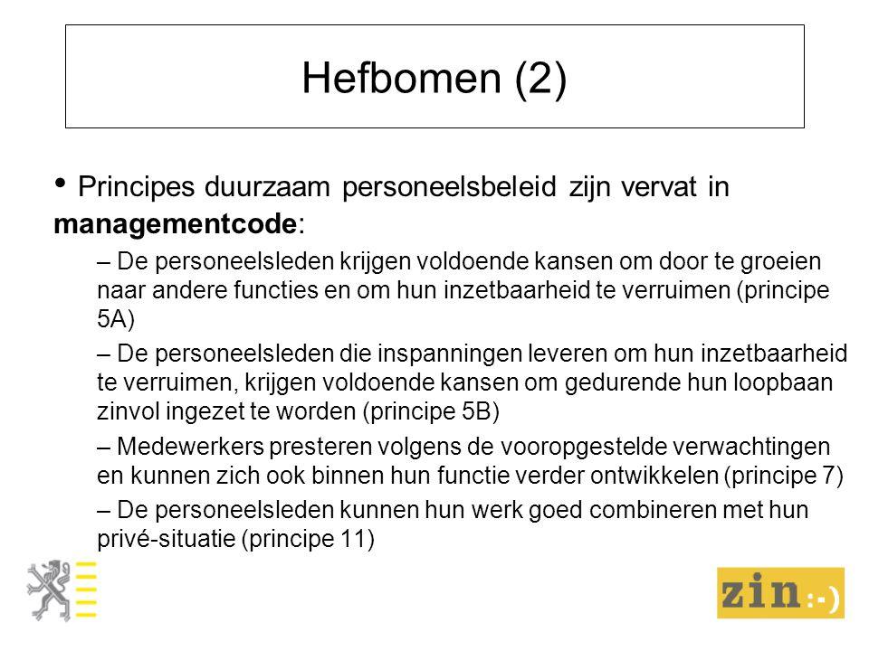 Hefbomen (2) Principes duurzaam personeelsbeleid zijn vervat in managementcode: – De personeelsleden krijgen voldoende kansen om door te groeien naar andere functies en om hun inzetbaarheid te verruimen (principe 5A) – De personeelsleden die inspanningen leveren om hun inzetbaarheid te verruimen, krijgen voldoende kansen om gedurende hun loopbaan zinvol ingezet te worden (principe 5B) – Medewerkers presteren volgens de vooropgestelde verwachtingen en kunnen zich ook binnen hun functie verder ontwikkelen (principe 7) – De personeelsleden kunnen hun werk goed combineren met hun privé-situatie (principe 11)