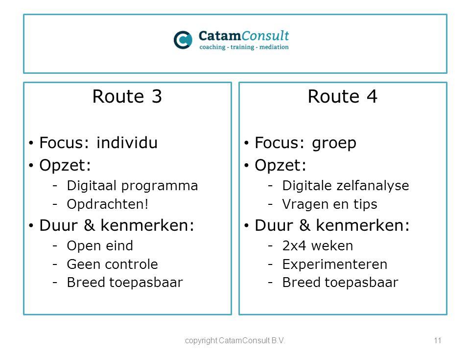 Route 3 Focus: individu Opzet: -Digitaal programma -Opdrachten! Duur & kenmerken: -Open eind -Geen controle -Breed toepasbaar copyright CatamConsult B