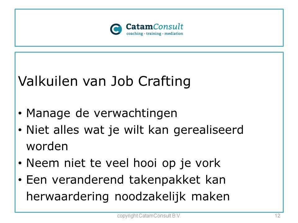 Valkuilen van Job Crafting Manage de verwachtingen Niet alles wat je wilt kan gerealiseerd worden Neem niet te veel hooi op je vork Een veranderend takenpakket kan herwaardering noodzakelijk maken copyright CatamConsult B.V.12