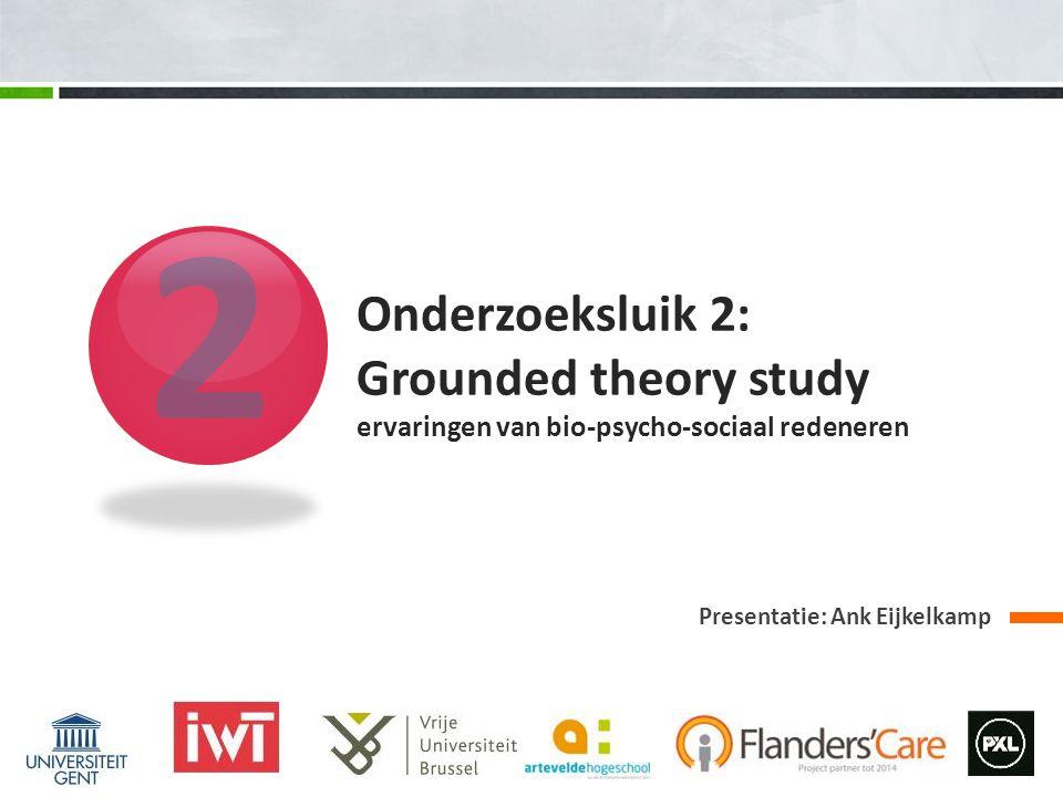 2 Presentatie: Ank Eijkelkamp Onderzoeksluik 2: Grounded theory study ervaringen van bio-psycho-sociaal redeneren