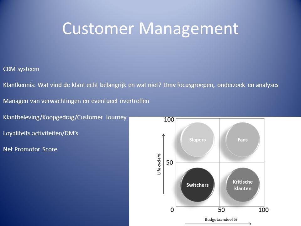 Customer Management CRM systeem Klantkennis: Wat vind de klant echt belangrijk en wat niet? Dmv focusgroepen, onderzoek en analyses Managen van verwac