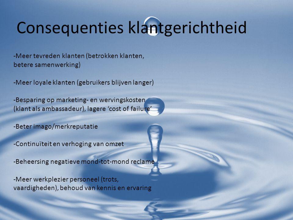 Klantgerichtheid: 'De klant als ambassadeur' Personeel, HR en MT Klachtmanagement Produkt, processen, Service & ICT Marketing & communicatie Customer Management