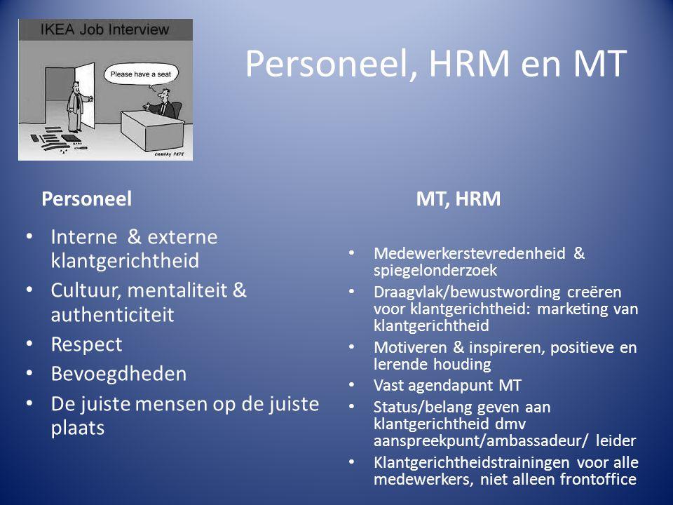 Personeel, HRM en MT Personeel Interne & externe klantgerichtheid Cultuur, mentaliteit & authenticiteit Respect Bevoegdheden De juiste mensen op de ju
