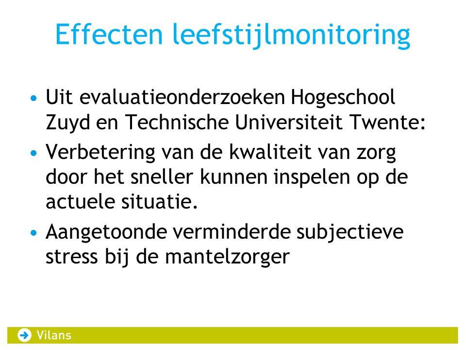 Effecten leefstijlmonitoring Uit evaluatieonderzoeken Hogeschool Zuyd en Technische Universiteit Twente: Verbetering van de kwaliteit van zorg door het sneller kunnen inspelen op de actuele situatie.