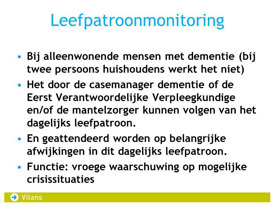 Leefpatroonmonitoring Bij alleenwonende mensen met dementie (bij twee persoons huishoudens werkt het niet) Het door de casemanager dementie of de Eerst Verantwoordelijke Verpleegkundige en/of de mantelzorger kunnen volgen van het dagelijks leefpatroon.
