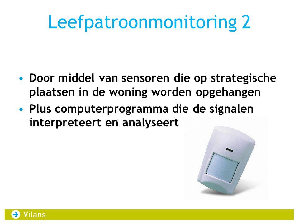 Leefpatroonmonitoring 2 Door middel van sensoren die op strategische plaatsen in de woning worden opgehangen Plus computerprogramma die de signalen interpreteert en analyseert