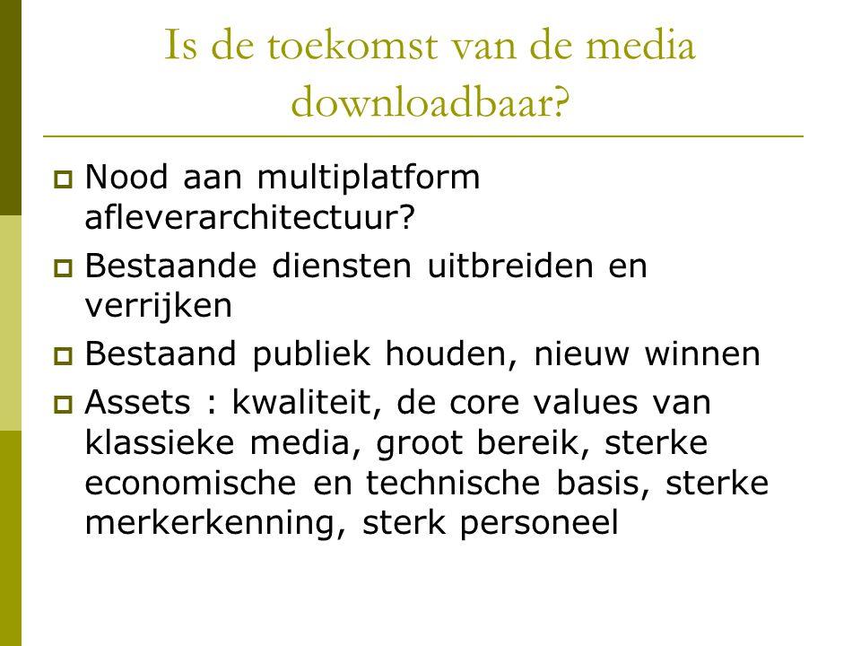 Is de toekomst van de media downloadbaar.  Nood aan multiplatform afleverarchitectuur.