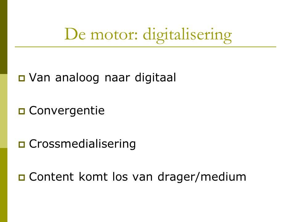 De motor: digitalisering  Van analoog naar digitaal  Convergentie  Crossmedialisering  Content komt los van drager/medium