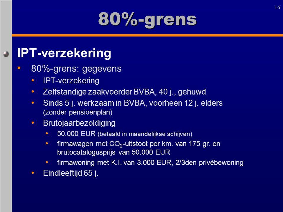 16 IPT-verzekering 80%-grens: gegevens IPT-verzekering Zelfstandige zaakvoerder BVBA, 40 j., gehuwd Sinds 5 j. werkzaam in BVBA, voorheen 12 j. elders