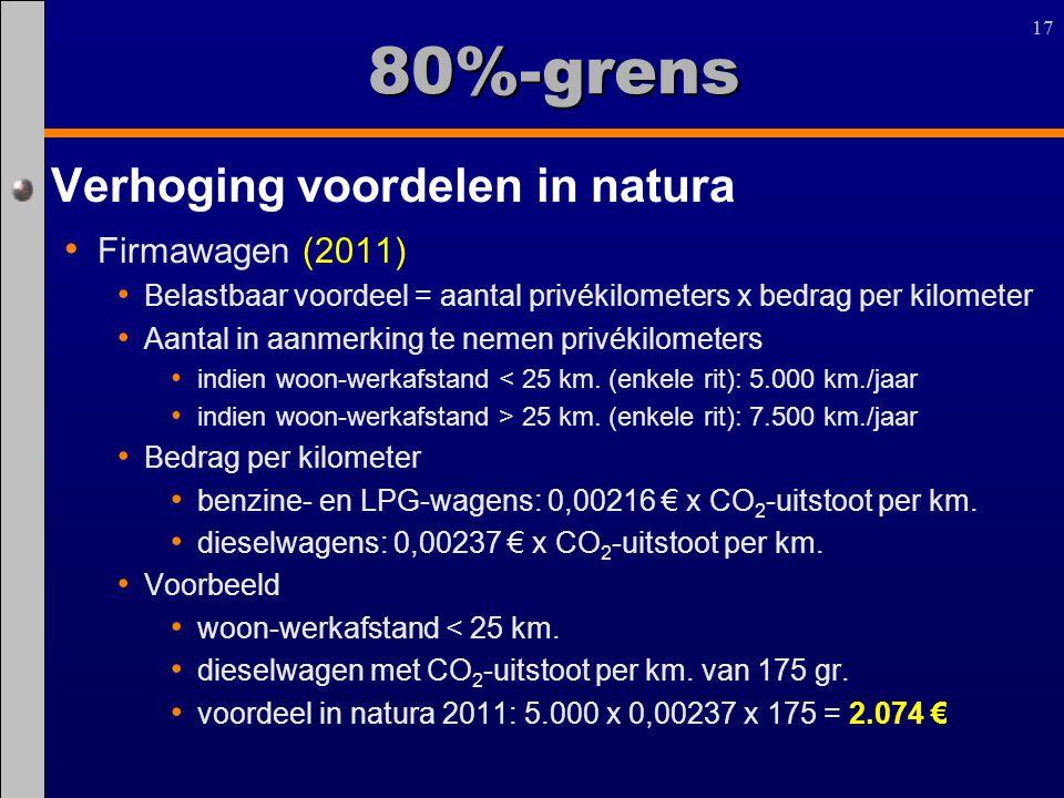17 80%-grens Verhoging voordelen in natura Firmawagen (2011) Belastbaar voordeel = aantal privékilometers x bedrag per kilometer Aantal in aanmerking